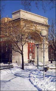 Image of The Arch, Washington Square. Behind the Arch: Fifth Ave. at left, Washington Square North at right.