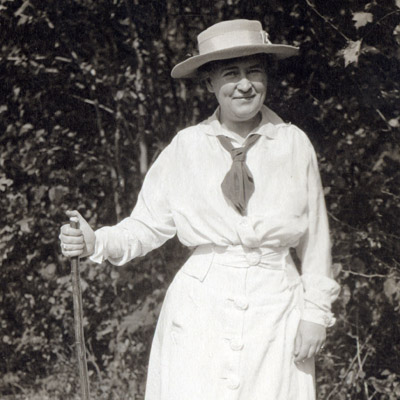 Willa Cather with a walking stick