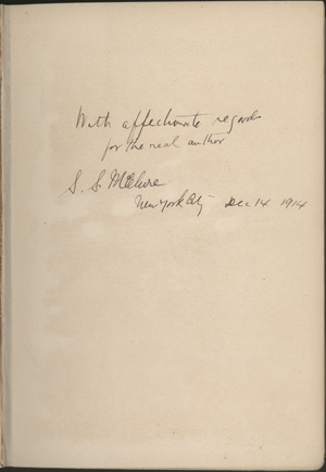 Image of the dedication from S. S. McClure to Cather