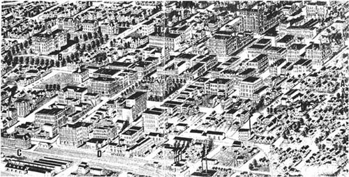 Ariel-view drawing of Lincoln, Nebraska in 1889.