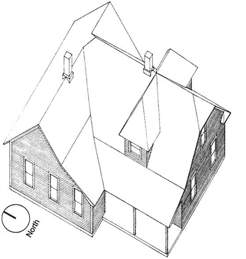 Ariel-view drawing of the Pavelka house.