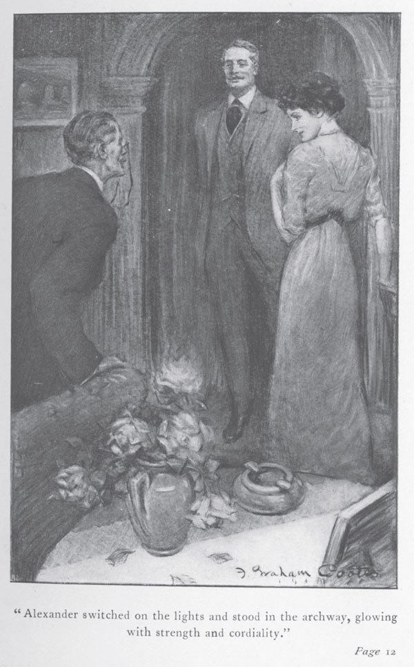 Illustration of Bartley Alexander, Winifred Alexander, and Lucius Wilson in doorway