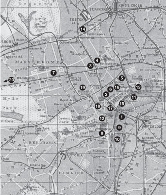 Map showing sites in centeral London referred to in Alexander's Bridge.