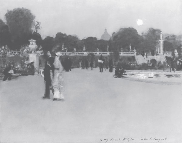 Painting of Luxembourg Gardens at Twilight.