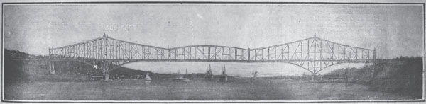 Painting of proposed Quebec Bridge.