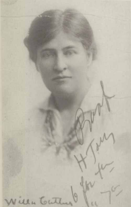 Willa Cather's passport photograph.
