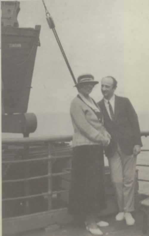 Photo of Isabelle McClung Hambourg and Jan Hambourg aboard the ss Tunisian, c. 1922.