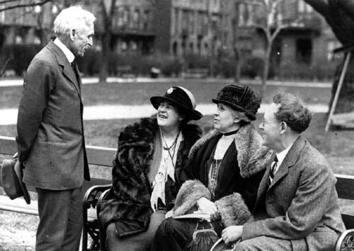 A picture taken in Washington Square Park, New York City, 1924, left to right: S. S. McClure, Willa Cather, Ida Tarbell, and Will Irvin. Courtesy Lilly Library, Indiana University, Bloomington