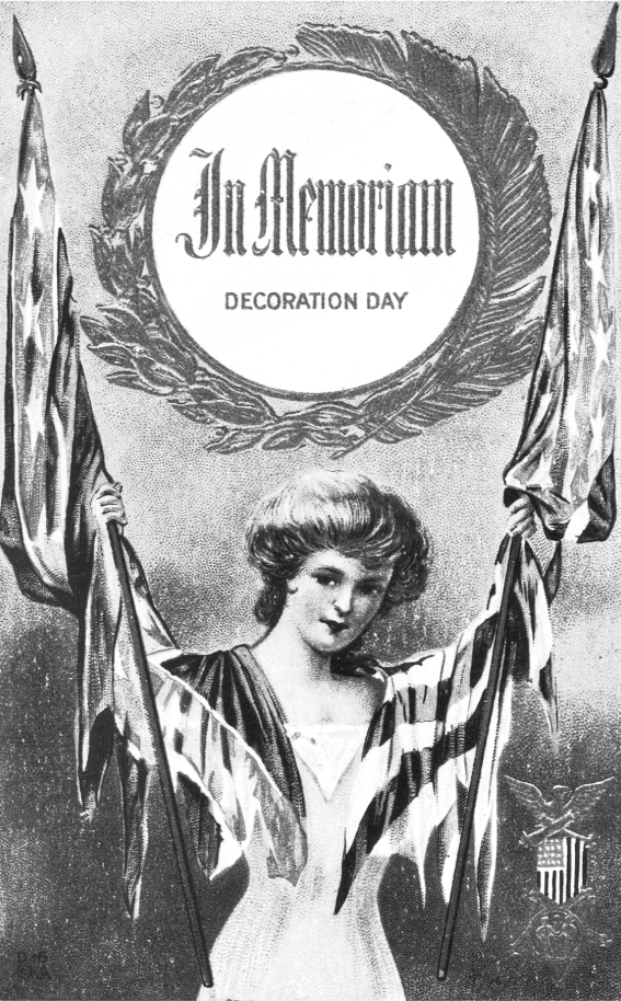 This turn-of-the-century postcard commemorates Decoration Day with some of the iconography that had become associated with that holiday, established to honor Civil War dead. The central wreath is a conventional tribute to heroism, and the U.S. and Confederate flags are of equal size and importance, suggesting that both armies are honored. The flags become the clothing of the central young woman, implying that memorializing is a female task.