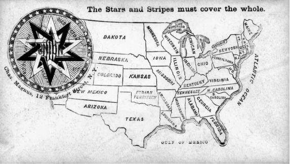 "This commemorative envelope, printed in New York City during the Civil War years underlies the importance of the U.S. flag (""The Stars and Stripes must cover the whole"" map of U.S. territories and states—even the seceded states) and of UNION, the word emblazoned across the red, white, and blue star at upper left."
