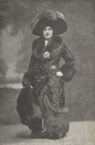 Illustration of Farrar posing in a fur costume.