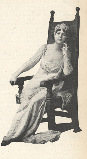 Illustration of Farrar as Tosca sitting in a chair.