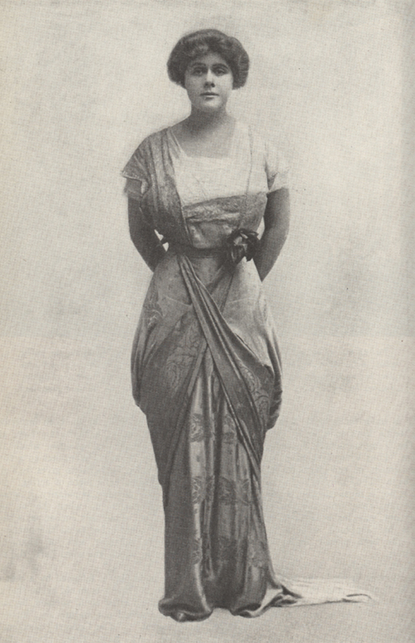 "Full length photograph of Janet Beecher in costume as the Putney widow in Arnold Bennet's ""The Great Adventure"""