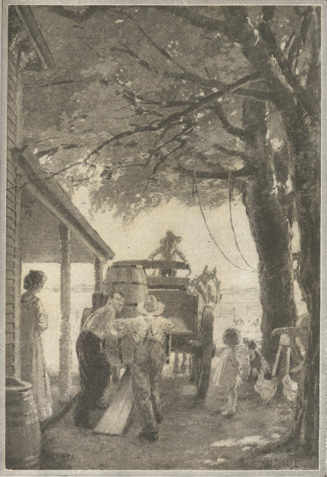 Illustration of two farmers loading a barrel onto a horse-drawn wagon while a woman, several children, and some farm animals look on.