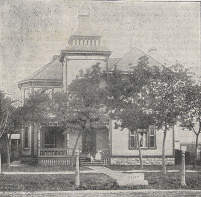 Photograph of the Bryan residence at Lincoln, Nebraska.