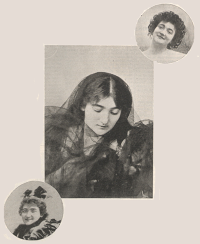 Three photographs of Emma Calvé.