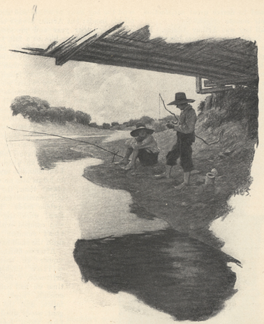 Illustration of two boys with fishing poles.