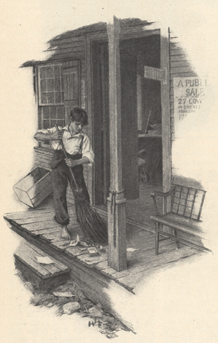 Illustration of a boy sweeping a porch.