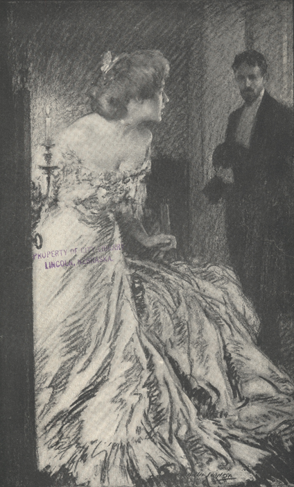 Illustration of woman in formal gown looking at man standing in the background.