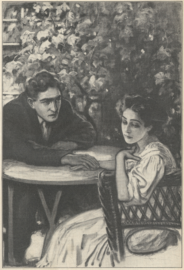 Drawing of a man and a woman sitting across a table from one another, the man's hand resting on the woman's.