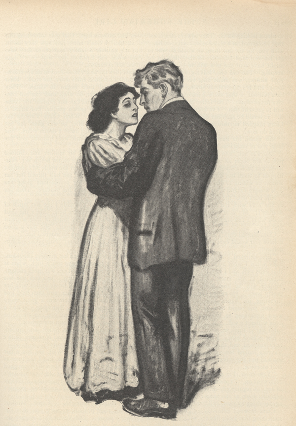 Drawing of a man and woman dancing with each other.