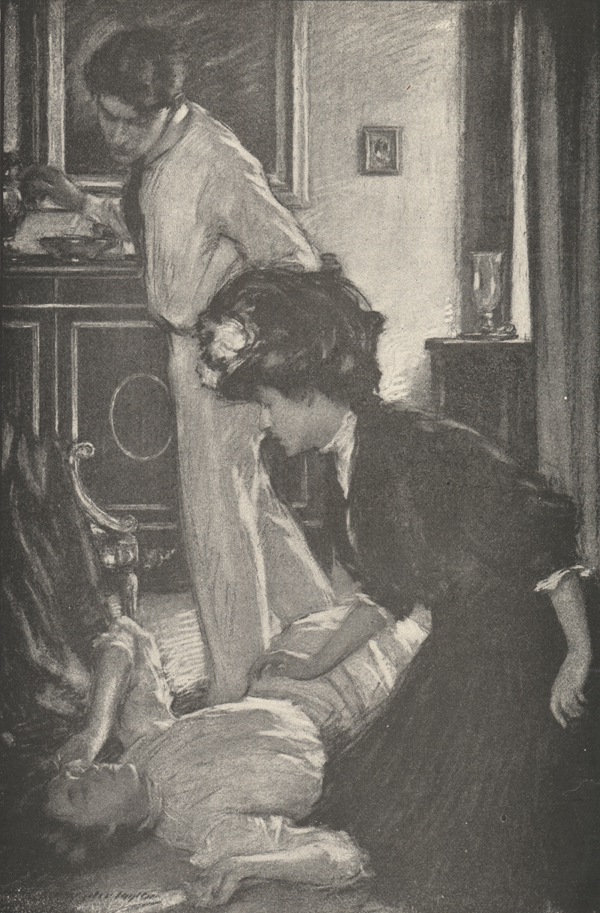 Illustration of a man standing and a woman kneeling over a second woman, who is lying on the floor.