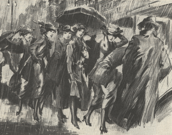 Illustration showing a group of young women in the rain with an umbrella being helped into a limousine by a man.