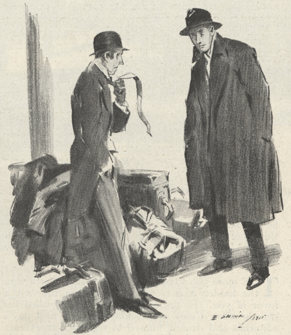 Illustration showing two men, one standing next to luggage with a railroad ticket in his hand and talking to the other.