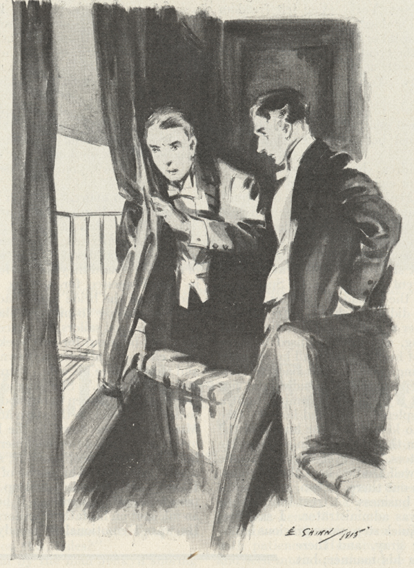 Illustration showing two men looking out the window.