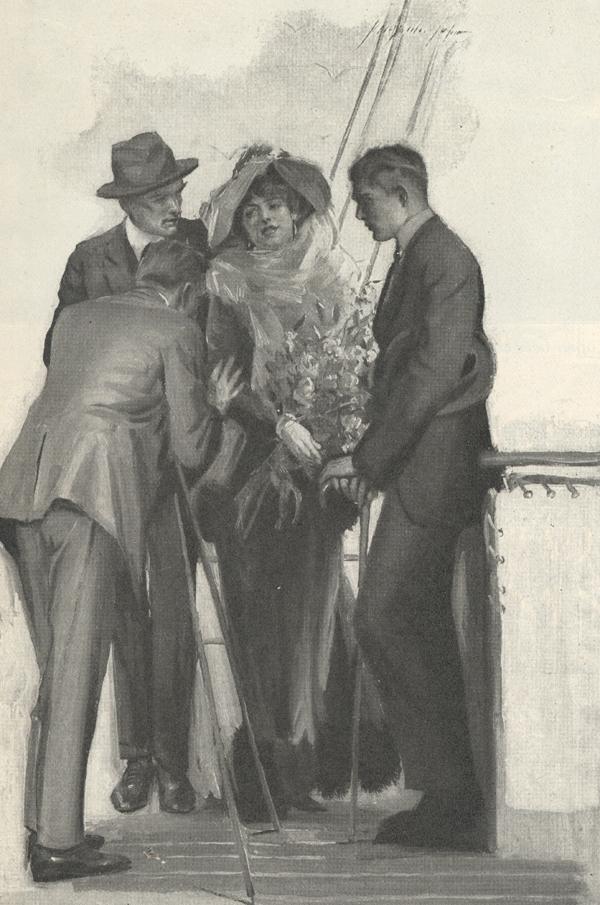 Illustration of a woman dressed in a fancy scarf and a big hat standing against the rail of a ship with one man standing on either side of her and another man photographing her.
