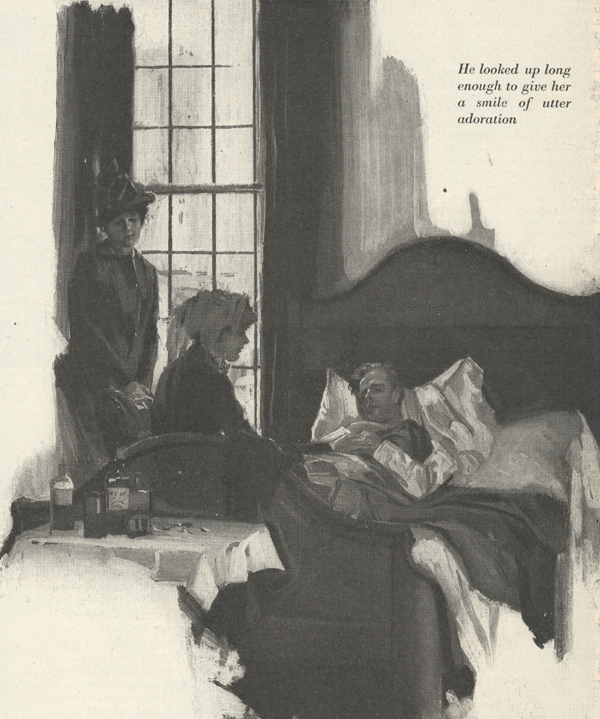 Illustration of man lying in bed with two women looking over him, one sitting on the bed and the other standing in the background.