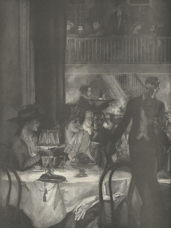 Illustration of two women sitting at a table in a restaurant with a man with a violin standing next to them.