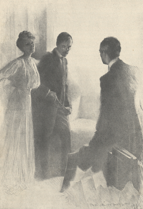 A drawing of a woman with her arm around one man and speaking to another man who is facing them.