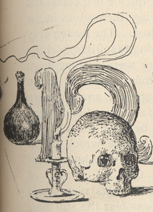 "Drawing of a skull, a candle in a candlestick, and a beaker, with a cursive letter ""n,"" the first letter of the story, in the background."
