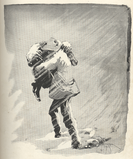 Drawing of a man carrying a woman through a snow storm.