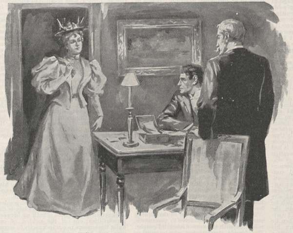 Illustration showing a well-dressed woman entering a room in which two men, one seated at a table and one standing near the first with his left arm resting on a chair.