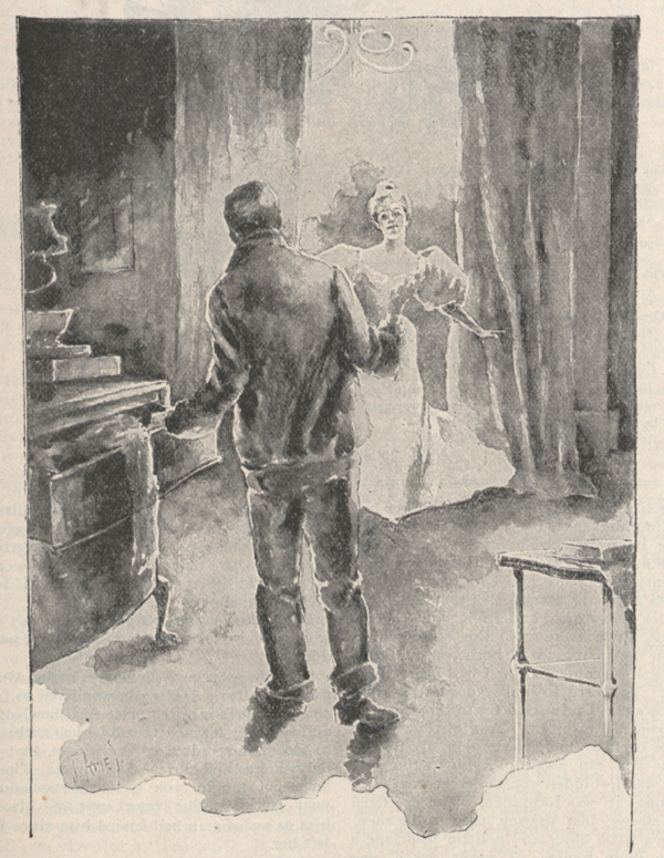 An illustration of a man seen from behind who is standing next to the open drawers of a dressing case and a woman in evening dress entering through the doorway.