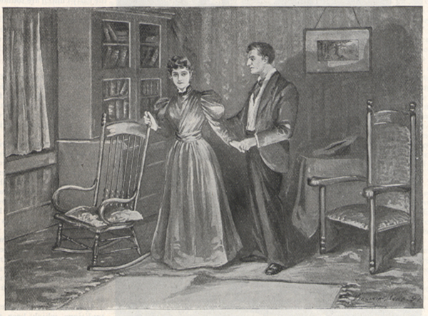 Illustration of a woman standing near a rocking chair and a man standing next to her, holding her hand.