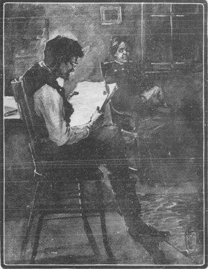 A drawing of a man reading a newspaper and a woman sitting near him with her darning in her lap.