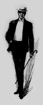 Drawing of a man in a suit with white tie, wearing a hat and carrying a cane.