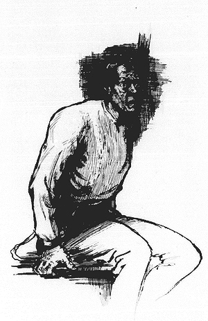 Drawing of a man sitting on the edge the bed with a frightened look on his face.