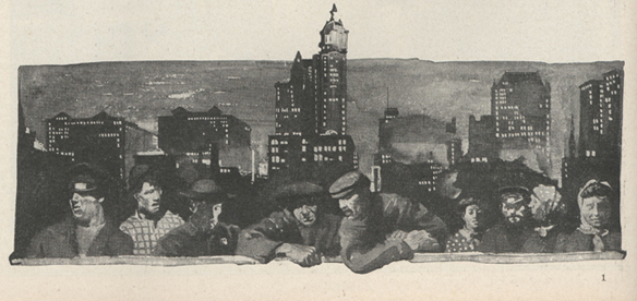 painting of an urban city at night with a line of men and women looking over the edge of an apparent roof