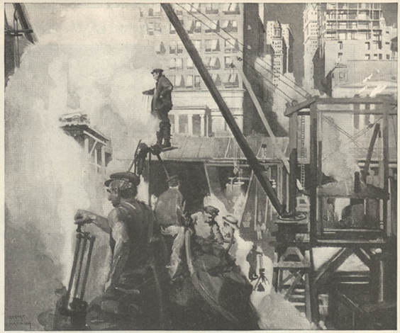Painting of an urban scene with workingmen next to a large crane looking at a smoking building