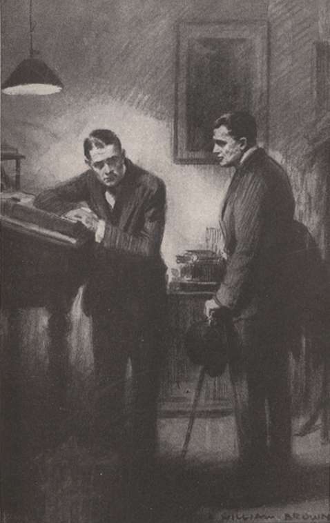 A drawing of two men talking, one leaning against a ledger on a high desk and one standing near him with a cane and hat in his left hand.