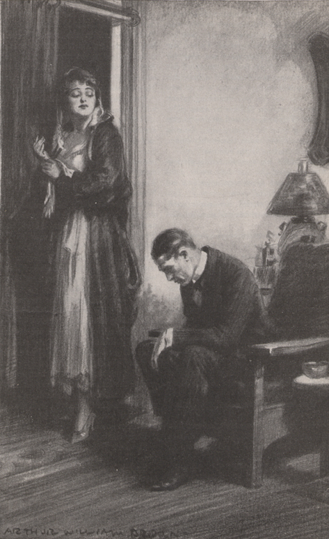 A picture of a man sitting in a chair with his head bowed and a woman standing next to him, dressed to go out and looking down at him with disdain.
