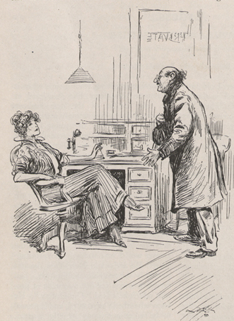 A drawing of a man with his hat in his hand and standing before a woman who is sitting behind a desk in swivel chair.