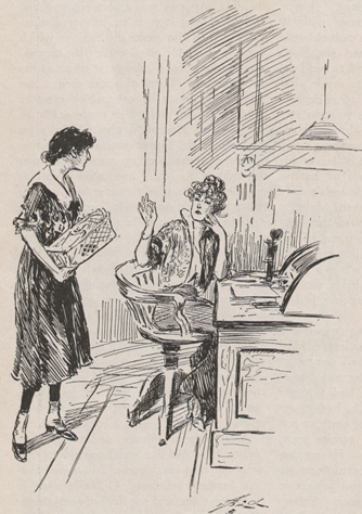 A drawing of two women in conversation, one woman sitting at a desk gesturing with her right hand and the other standing near her and holding a wire basket of typewritten sheets.