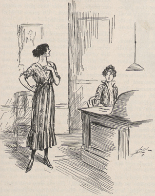 A drawing of two women, one behind a desk, the other standing proudly near the first and asking a question.