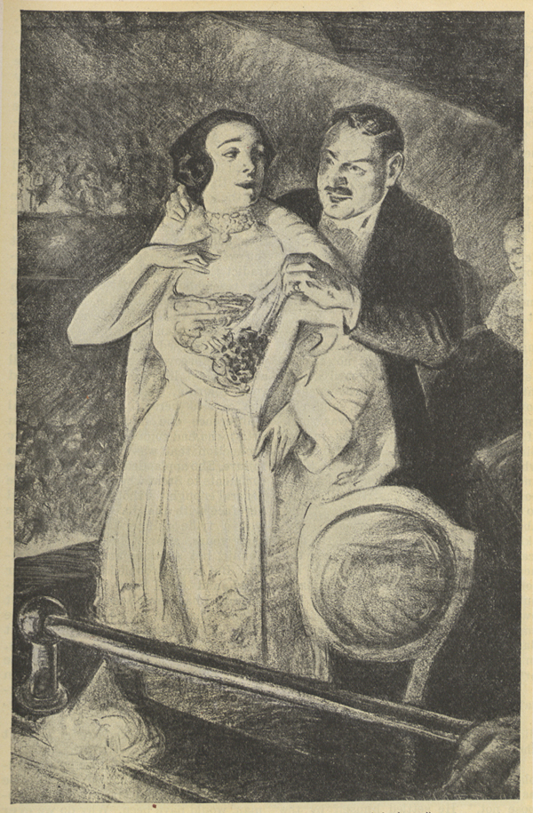 A drawing of a man helping a woman dressed in an evening gown remove her fur coat.