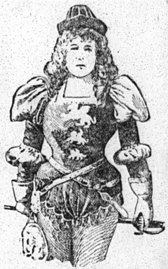 "Sketch of Marie Tempest in costume for ""The Fencing Master"""